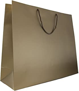 JAM PAPER Gift Bags with Rope Handles - Jumbo -20 x 16 x 6 - Bronze Matte - Sold Individually