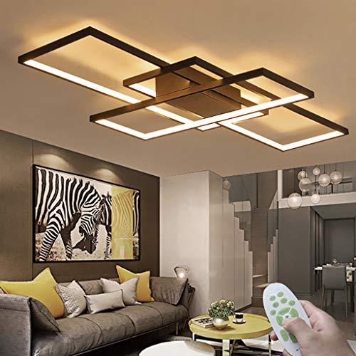Wohnzimmer Deckenleuchte LED Modern Deckenlampe Kreativität Rechteck Deckenlicht Dimmbare Lichtfarbe Und Helligkeit 3000K-6000K Fernbedienung Acryl Lampenschirm Schlafzimmer Beleuchtung Schwarz ø140cm