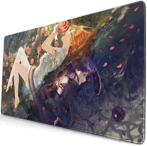 Alfombrilla de ratón para juegos de anime Girl Fantasy Flowers Apple grande, antideslizante, bordes cosidos de goma (15.8 x 29.5 pulgadas)