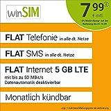 Handyvertrag winSIM LTE All 5 GB Allnet Flat - monatlich kündbar (FLAT Internet 5 GB LTE mit max. 50 MBit/s mit deaktivierbarer Datenautomatik, FLAT Telefonie, FLAT SMS und EU-Ausland 7,99 Euro/Monat)