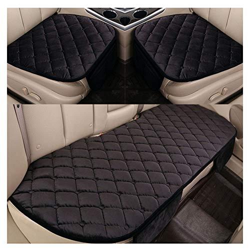 Bequem Gesteppt Autositzüberzug Kissen Universal Sitzauflagen Autositzbezüge 3PCS/ Einzelsitzbezug Schwarz 2 Vorderseite & 1 Rückseite Sitzbezüge