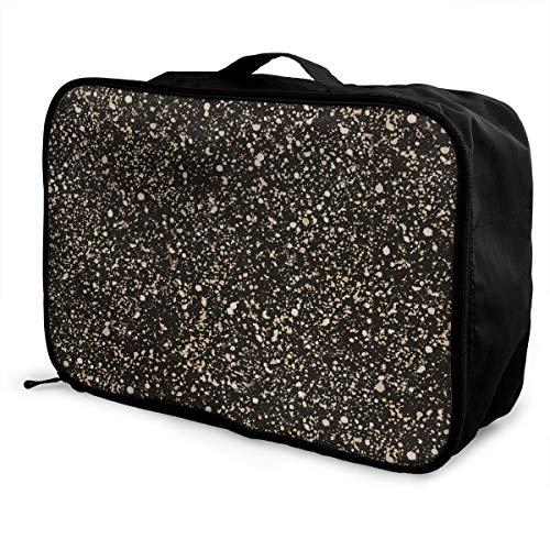 Bolsa de viaje, bolsa de viaje con ruedas, maletas livianas, portátiles, bolsa de lona, bolso de mano, manchas beige en patrón oscuro