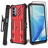 Suordii Belt Clip Holster for One Plus Nord N200 5G Case, Military Grade Shockproof Case with Tempered Glass HD Screen Protector (2 Pack), Kickstand for One Plus Nord N200 5G Phone Case - Red