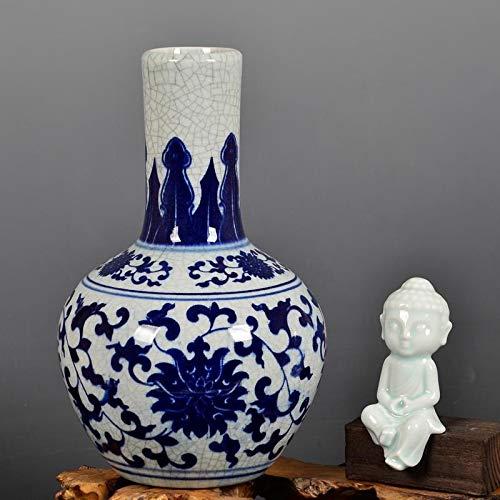 Cxp Boutiques Stil Keramik Antike Offizielle Brennofen Blau und Weiß Porzellan Kürbis Vase Blume Wohnzimmer Dekoration Hochzeit vase Elegant (Color : 7)