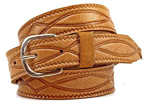 véritable ceinture en cuir grande taille 120 cm – 160 cm, Adulte mixte, marron clair, 120 cm
