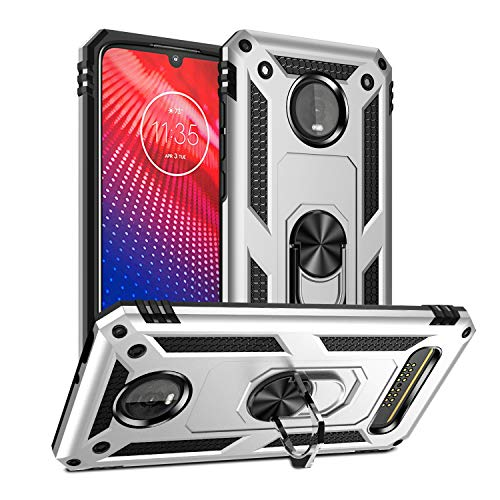 Moto Z4 Case,Moto Z4 Play Case,Moto z4 Force Case Cover,Rebex Tough Heavy Protective 360 Metal Rotating Ring Kickstand Holder Grip Built-in Magnetic...