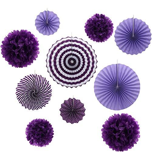 Gardeningwill Lot de 10 éventails en papier violet à suspendre pour décoration de fête d'anniversaire ou de mariage