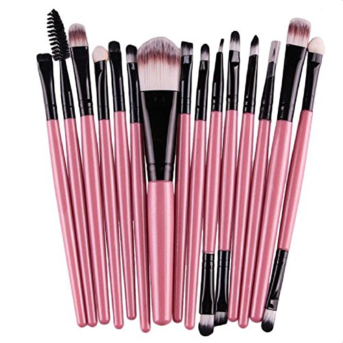 FEITONG Dame de Mode 15 pcs/Sets Fondation Eyeshadow Sourcils Lip Brush pinceaux de Maquillage Outil (Rose)