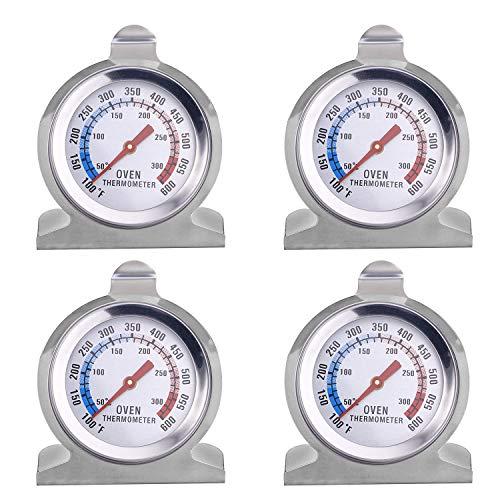 Thlevel 4 Stück Ofenthermometer, 100~600°F Ofen Dial Thermometer Braten und Backen Grillthermometer Überwachung Thermometer aus Edelstahl