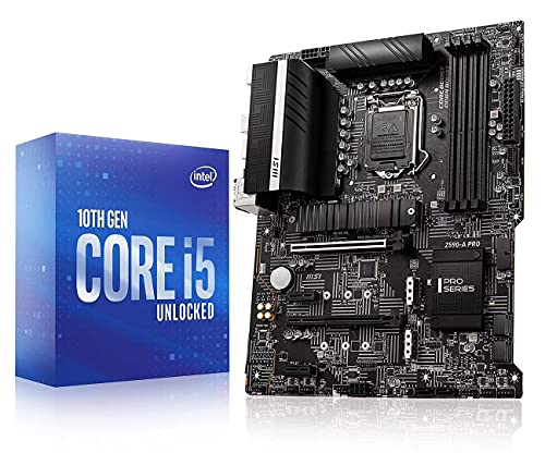 Micro Center Intel Core i5-10600K Desktop Processor 6 Cores up to 4.8 GHz Unlocked LGA1200 (Intel 400 Series chipset) 125W Bundle with MSI Z590-A PRO ProSeries ATX Motherboard with PCIe 4 M.2 Slots