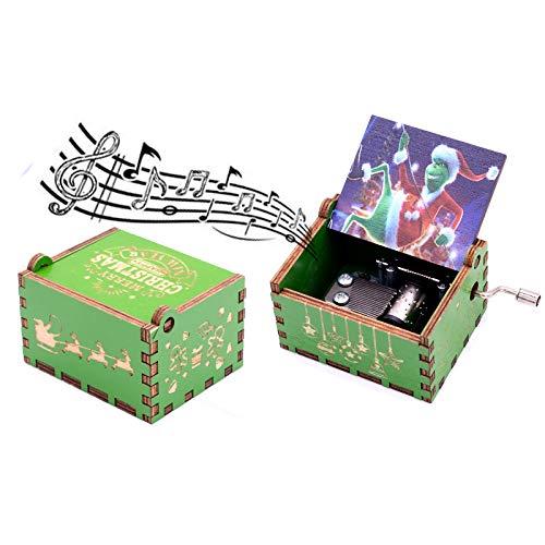 Keast Caja de música de madera tallada con diseño de ladrón de Navidad Grinch con melodía feliz Navidad, caja de música de manivela de madera para regalo para niños y niñas