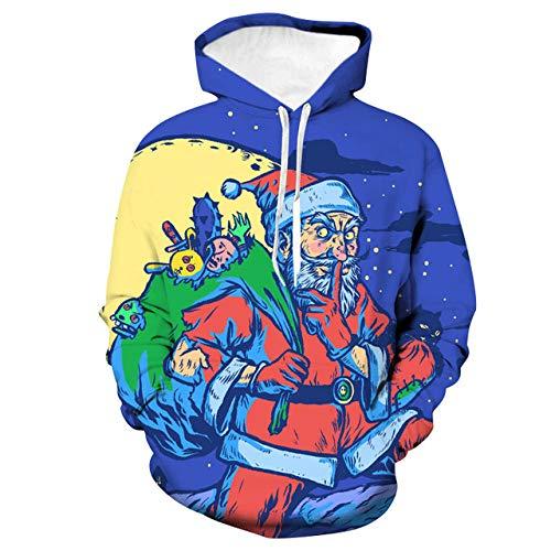 Sweat à Capuche 3D Imprimer Pull Sweatshirt,Veste de Couple à Capuchon lâche, Usure de Baseball, Santa coloré, S,Décontracté Pullover pour Garçon Fille Ado