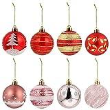 VILLCASE 24 Unidades de Bolas de Navidad Juego de Bolas de Árbol de Navidad Ornamento de Bolas de Vacaciones Adornos de Adorno Navidad Colgantes para Decoración de Fiesta de Invierno 6Cm