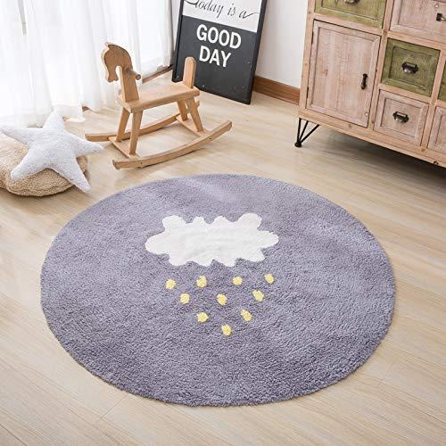HYMY Babyspielauflage Runder Teppich Kriechender Teppich Kinderteppich Weicher Rutschfester Notenflaumiger Niedlicher Karikaturschlafteppich,B-150cmInDiameter