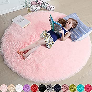 Pink Round Rug for Girls Bedroom,Fluffy Circle Rug 4 X4  for Kids Room,Furry Carpet for Teen Girls Room,Shaggy Circular Rug for Nursery Room,Fuzzy Plush Rug for Dorm,Cute Room Decor for Baby