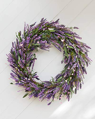 Balsam Hill Provencal Lavender Artificial Wreath 32 Inches with Lifelike Foliage for Spring with Long Lavender Stalks and Flowers in Shades of Purple and Pink (32 Inches)