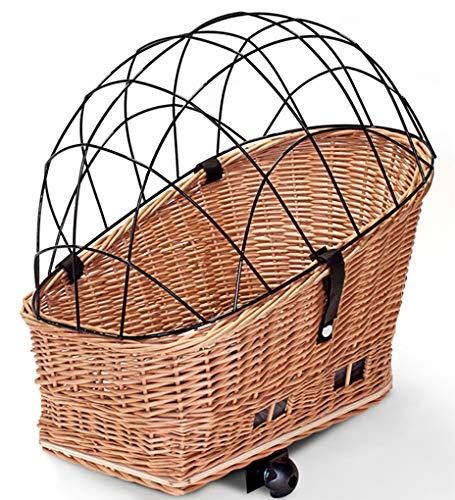 Tigana Hundefahrradkorb für Gepäckträger aus Weide Natur 60 x 39 cm Gitter Tierkorb Hinterradkorb Hundekorb für Fahrrad (N-S) (XXL + Kissen + Holz)