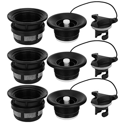 VGEBY Inflatable Boat Air Valve 3Pcs Universal Spiral Air Plug Safety Air Valve with Filter Mesh Accessory for Inflatable Tent Boat Kayaksblack