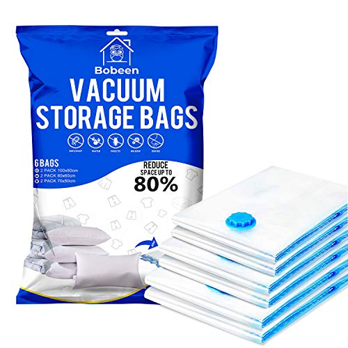 Bobeen Vacuum Storage Bags, 6 Pack (2 Jumbo + 2 Large + 2 Medium) Double-Zip Seal for Clothes, Duvets, Bedding, Pillows, Mattress, Quilt, Sweaters, Dress, Coats, Curtains, Blankets