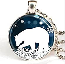 Polar Bear Pendant Christmas Necklace, Blue and White Snowflake Jewelry, Women Fashion Charm