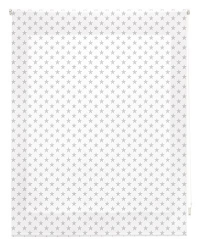 Blindecor Stars Estor Enrollable, Tela, Blanco con Estrellas Gris, 140 x 180 cm