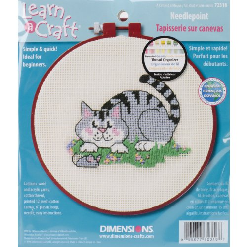 DIMENSIONS 50031-012 Needlecrafts Needlepoint, A Cat and A Mouse
