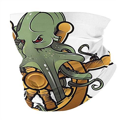 N/W Outdoor Schal Halstuch Halstuch Face Bandana Schal Kopftuch Schiffsrad Deko Octopus auf Lenkrad Alt Tattoo Design Muster Cuttlefish Unterwassertiere Grün Braun Kopftuch