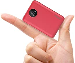 Uni-Yeap SG100 Palm Size Small Portable Battery Charger Power Bank 10000mAh with LCD for iPhone Series iPad Samsung Galaxy and All Smart Phones & Devices(Red)