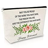 Retirement Gift for Women Makeup Bag Appreciation Gift for Nurse Teachers Retired Gift for Wife Cosmetic Bag Thank You Gift for Coworkers Travel Cosmetic Pouch Birthday Christmas Gift