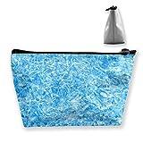 Bolsas de maquillaje para mujer, con textura de hielo, multifunción, para organizar artículos de tocador, bolsa portátil de mano, capacidad de almacenamiento con cremallera (trapezoidal)