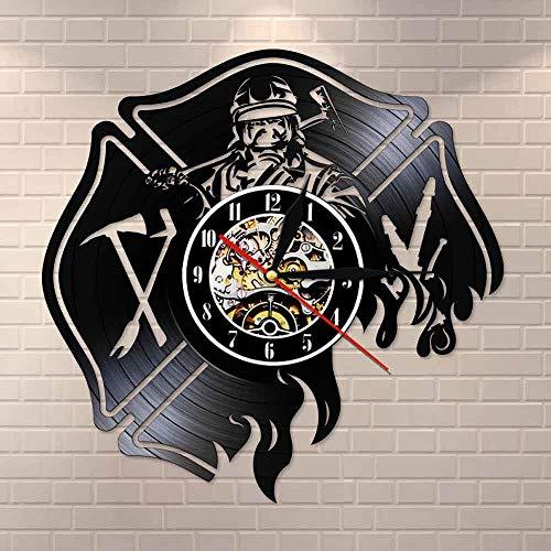 PDXGZ Feuerwehrmann Feuerwehr Szene Thema Uhr, Vintage Vinyl Record Wanduhr,Für Home Dekoration-Geschenke Für Männer, Frauen Und Kinder 30Cm(12Inch),B