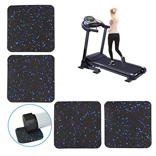 Laufband-Matte für schwere Trainingsgeräte, hochdichter Gummi, robuste Fahrradmatten, Pads zum Schutz von Böden, Teppichschutz (9,4 x 9,94 x 1 cm, 4 Stück)