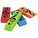 Wedge eraser rubber with treble clef design available in assorted colours