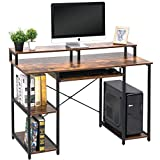 TOPSKY Computer Desk with Storage Shelves/Keyboard Tray/Monitor Stand Study...