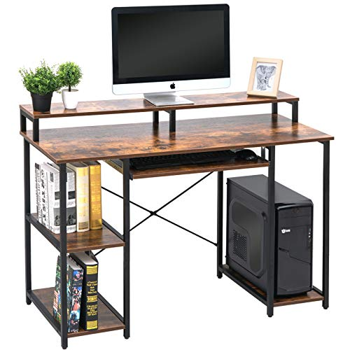 TOPSKY Computer Desk with Storage Shelves/Keyboard Tray/Monitor Stand ...