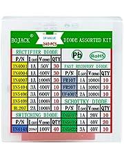 BOJACK 14 valor 240 uds Kit de surtido de diodos Contiene rectificador/recuperación rápida/Schottky/diodo de conmutación 1N4001 4004 4007 5404 5406 5408 RL207 FR107 207 UF4007 IN5817 5819 5822 4148