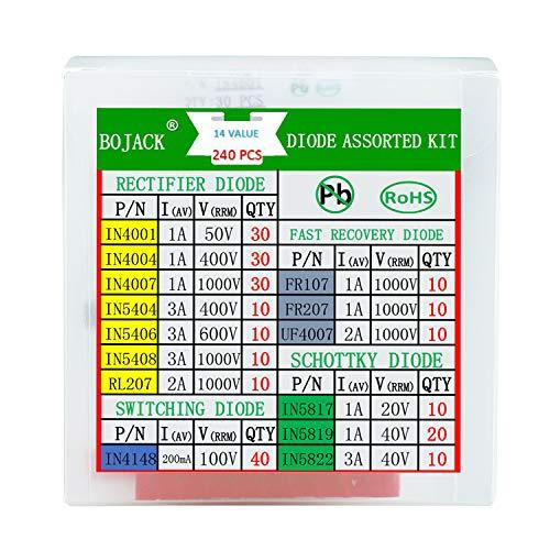 BOJACK 14 Wert 240 Stück Diodensortiment Kit Enthält Gleichrichter/Schnelle wiederherstellungs/Schottky/Schalt dioden IN4001 4004 4007 5404 5406 5408 RL207 FR107 207 UF4007 IN5817 5819 5822 4148
