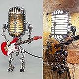 TIANBANGSHI Lámpara de Robot de micrófono Vintage, lámpara de Escritorio de Robot de micrófono de Metal con Guitarra, lámpara de Mesa de Estilo Steampunk, Adornos creativos, decoración-C