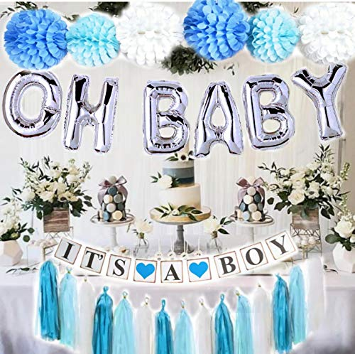 Baby Shower Decorations for Boy| OH BABY letters balloons| 6 pompoms| Its a Boy Banner| Blue Tasells| Blue Silver and Grey Baby Shower| Party Decorations| Blue backdrop|Centerpiece