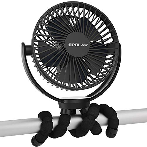 OPOLAR 2020New 5000mAh Rechargeable Battery Powered Clip Fan with Flexible Tripod, Quieter&Stronger Wind, Personal Portable USB Desk Fan for Golf Cart Stroller Car or Outdoor Camping Tent Beach
