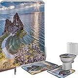 Juego de cortinas baño Accesorios baño alfombras Decoración de viaje Alfombrilla baño Alfombra contorno Cubierta del inodoro Chamán Rock Lago Baikal en Rusia Tema costero Rayos del sol Vista panorámic