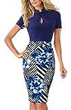 HOMEYEE Women's Short Sleeve Business Church Dress B430 (4, Dark Blue Stripe)