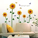 Vinilo mural extraíble con diseño de girasol para TV, sofá, sala de estar, decoración del hogar por Clest F&H