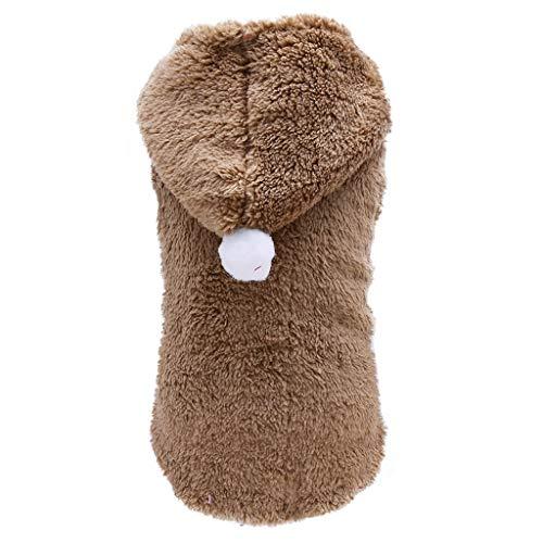 Fahooj hundebekleidung I Plüsch mit Kapuze Welpenmantel Stricken Hund Hoodie Pullover Haustier Welpen Mantel kleine Haustier Wintermantel (S, Khaki)