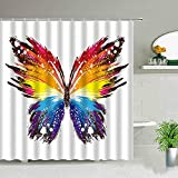 Cortinas de ducha coloridas de tela de poliéster impresa cortina de baño impermeable decoración de baño mariposas impresión lavable -180xH200cm