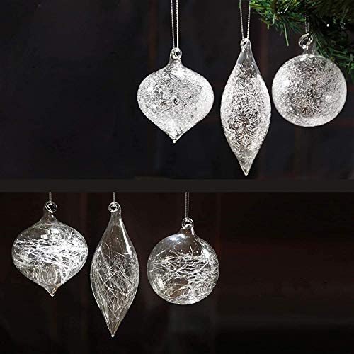 Christmas Glass Handmade Clear Ball Ornaments Silk Frost Glitter Decoration Gift Present Mouth Blown Tree Hanging Wedding Party Home Birthday Glitter Baubles Sphere Set of 12 Pieces (8 cm)