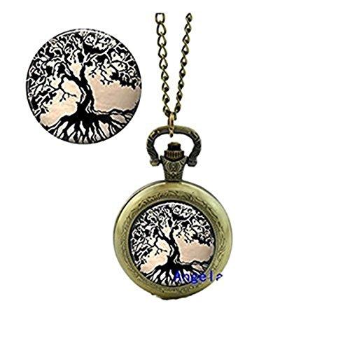Árbol brillante reloj de bolsillo collar árbol de la vida colgante joyería de cristal