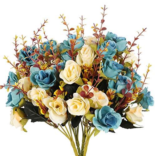 HUAESIN 4pcs Ramo de Flores Artificiales Vintage, Flor de Rosa Artificial Blanca y Azul de Seda Flores Artificiales Decoracion Jarrones para Mesa Boda Fiesta Hogar Banquete Interior Arreglos Florales