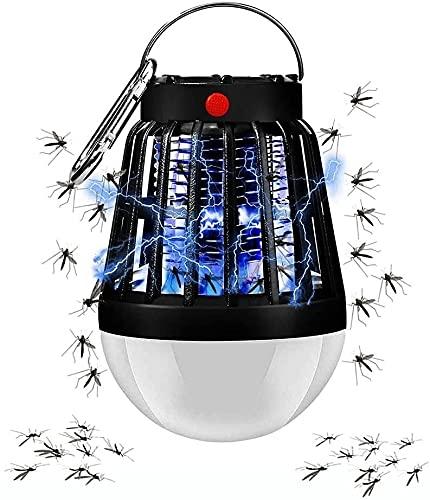JSY Solar Mosquito Killer lámpara 2-en-1 portátil Camping linterna Mosquito Zapper para acampar al aire libre...