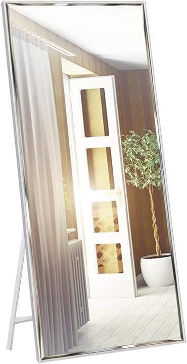Specchio da parete o da terra, 165 x 61 cm, cornice bianca, antischeggia - eono essentials CH19096MVC